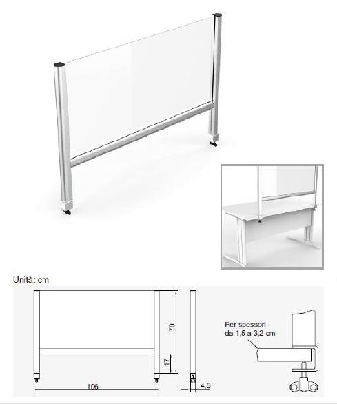 schema barriera parafiato da scrivania, protezione dal covid-19 per uffici